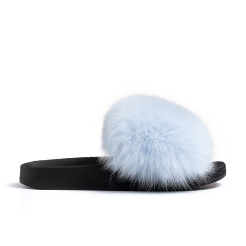 Confetti Boutique Light Blue Fox Fur Slippers