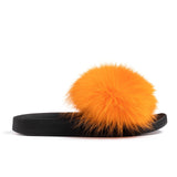 Confetti Boutique Orange Fox Fur Slides