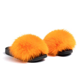 Confetti Boutique Orange Fox Fur Slippers
