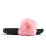 Confetti Boutique Pink Rabbit Fur Slippers