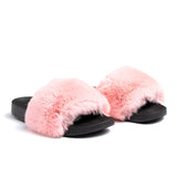 Confetti Boutique Pink Rabbit Fur Slides