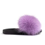 Confetti Boutique Purple Fox Fur Slides