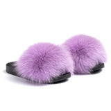 Confetti Boutique Purple Fox Fur Slippers