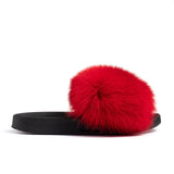 Confetti Boutique Red Fox Fur Slides