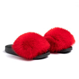 Confetti Boutique Red Fox Fur Slippers