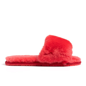 Confetti Boutique Red Lamb Fur Slippers