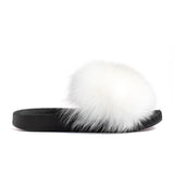 Confetti Boutique White Fox Fur Slides