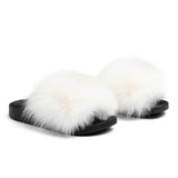 Confetti Boutique White Fox Fur Slippers