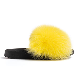 Confetti Boutique Yellow Fox Fur Slides