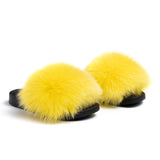 Confetti Boutique Yellow Fox Fur Slippers