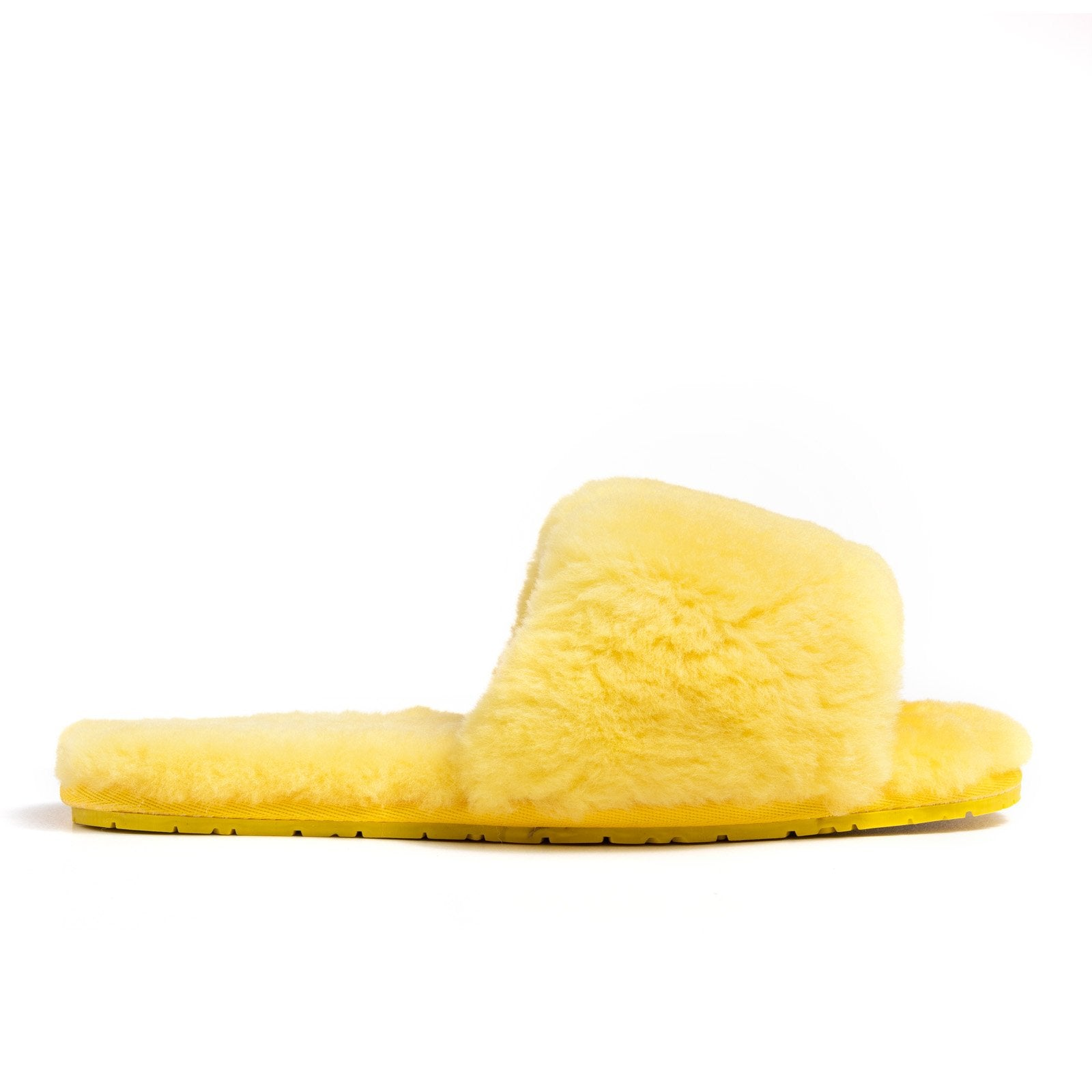 Confetti Boutique Yellow Lamb Fur Slippers