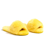 Confetti Boutique Yellow Lamb Fur Slides