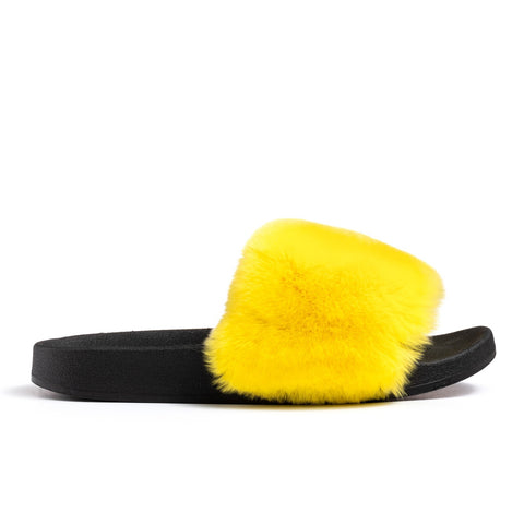 Confetti Boutique Yellow Rabbit Fur Slides