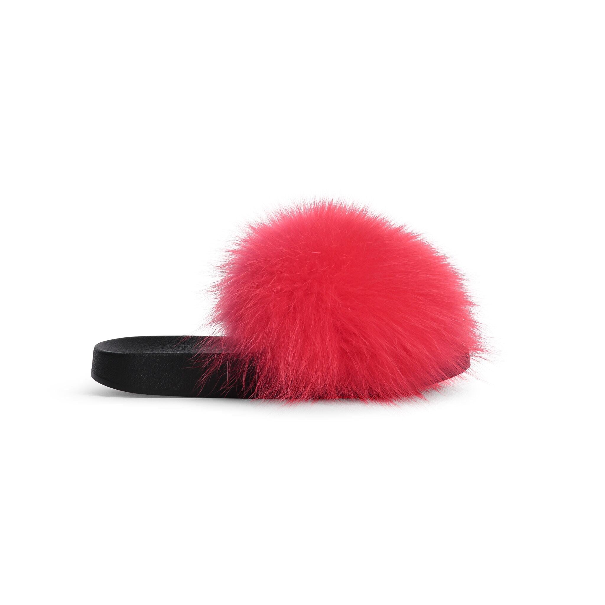 Confetti Hot Pink Fox Fur Slides