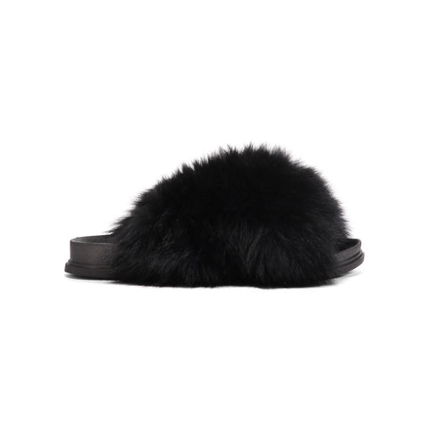 Confetti Black Criss Cross Fox Fur Slides