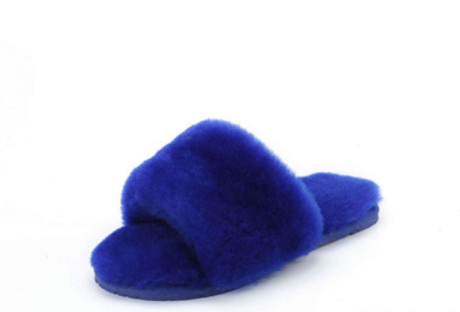 Confetti Blue Lamb Fur Slippers ( Brighter in person )