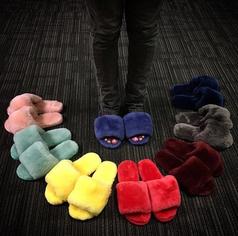 Confetti Lamb Fur Slippers