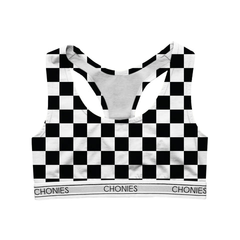 Checkered Black & White Sports Bra
