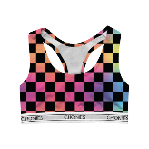 Checkered Rainbow Sports Bra