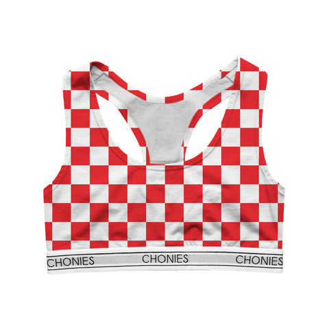 Checkered Red & White Sports Bra