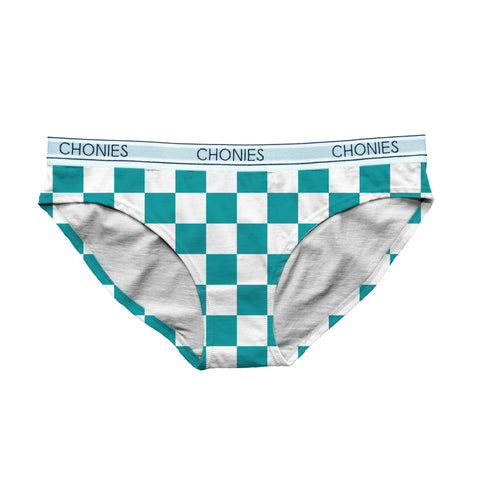 Checkered Teal & White Classic Brief