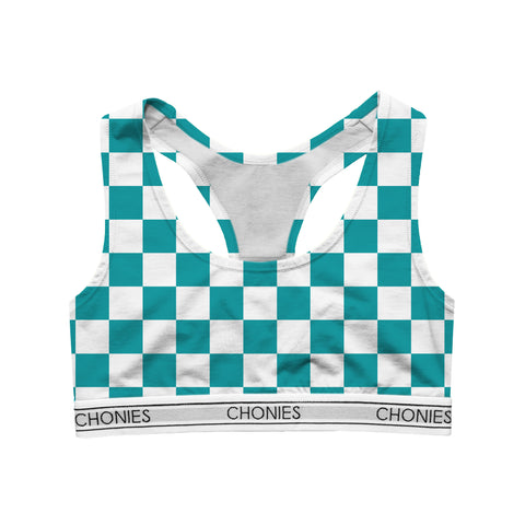 Checkered Teal & White Sports Bra