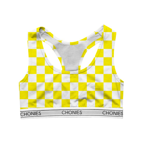 Checkered Yellow & White Sports Bra
