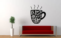Life Begins After Coffee Quote Wall Decal Sticker