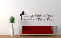 Tinkerbell Pixie Dust Quote Wall Decal Sticker