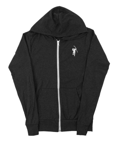Black Tri Blend Lightweight Full Zip Hoodie
