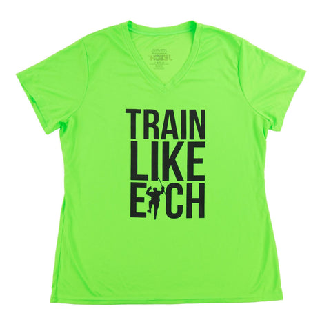 Neon Green Train Like Eich Performance V-Neck Tee Shirt (Women)