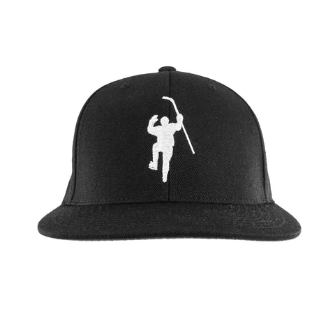Black with White Logo Snapback Hat
