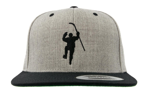 Gray with Black Logo Snapback Hat