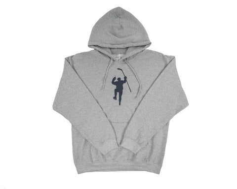 Gray with Navy Logo Dual Blend Hoodie