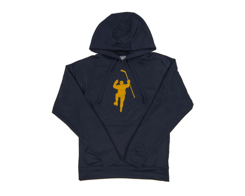 Navy with Yellow Logo Performance Hoodie