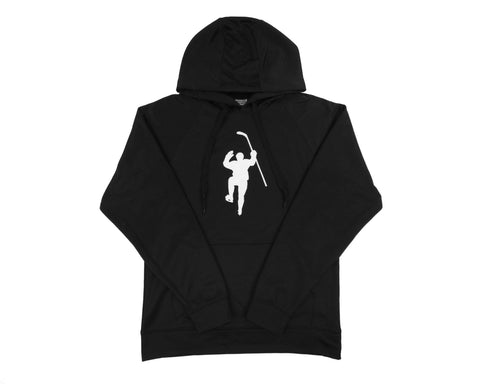 Black with White Logo Performance Hoodie
