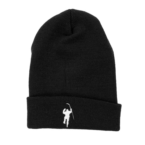 Black with White Logo Knit Hat (Cuffless)