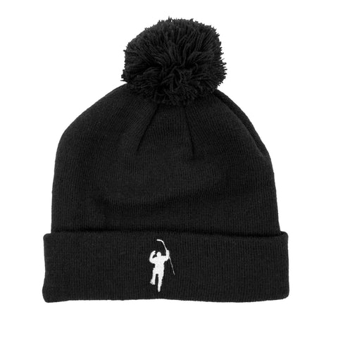 Black with White Logo Cuffed Pom Beanie