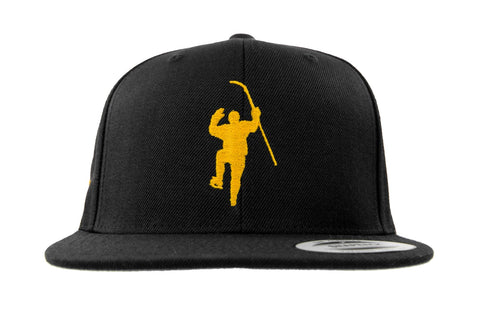Black with Yellow Logo Snapback Hat