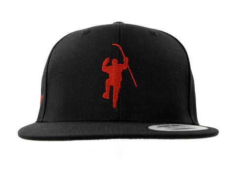 Black with Red Logo Snapback Hat