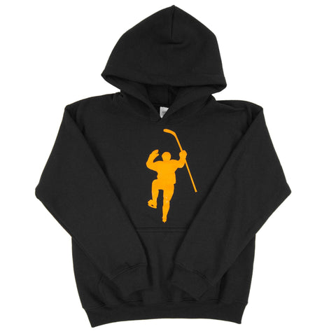 Black with Yellow Logo Dual Blend Hoodie (Youth)