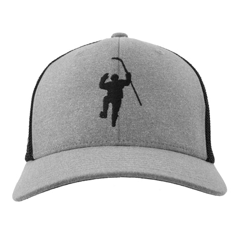 Gray with Black Silhouette Logo Flex Fit Hat