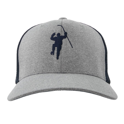 Grey with Navy Logo Flex Fit Trucker Hat