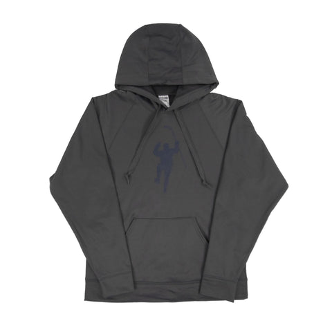 Gray with Navy Logo Performance Hoodie