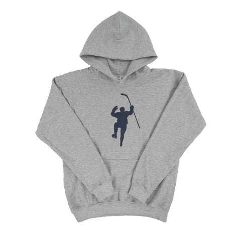 Gray with Navy Logo Dual Blend Hoodie (Youth)