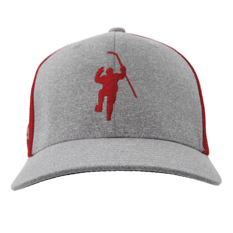 Grey with Red Logo Flex Fit Trucker Hat