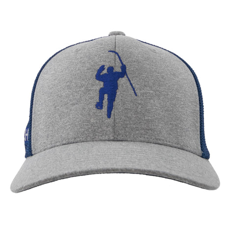 Grey with Royal Logo Flex Fit Trucker Hat