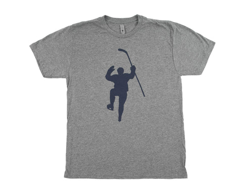 Gray with Navy Logo Tri-Blend Tee Shirt