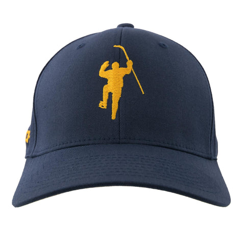 Navy with Yellow Logo Flex Fit Hat