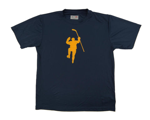 Navy with Yellow Logo Performance Tee Shirt
